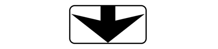 Стрелка указывает, что знак действует в конкретной полосе