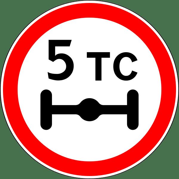 Так обозначается предельная нагрузка наось. ТС— тонн силы или просто тонн. Обычно знак стоит перед участком, который невыдержит большого веса— мост или дорога, под которой текут грунтовые воды