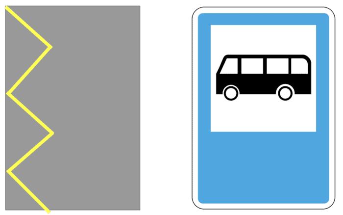 Слева разметка для общественного транспорта, справа— знак для него